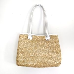 White stag women's straw tote bag with silver trim